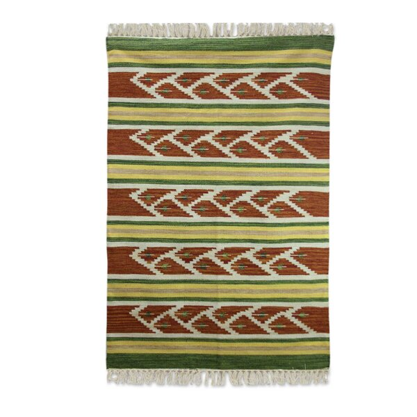 Hand Woven Green/Brown Area Rug by Novica
