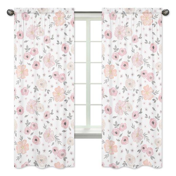 Floral Rod Pocket Window Curtain Panels (Set of 2) by Sweet Jojo Designs