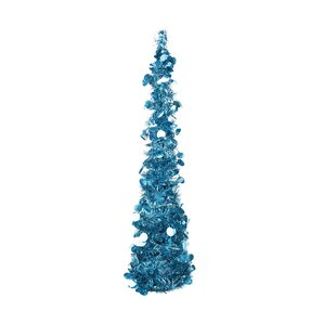 275 blue artificial christmas tree with 20 polar white led lights with stand and tinsel - 75 White Christmas Tree
