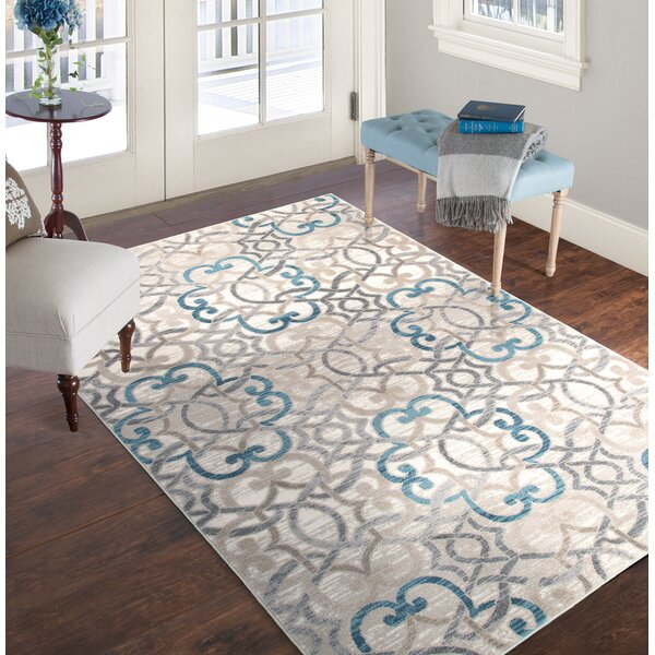 Vintage Brocade Blue/Gray Area Rug by Plymouth Home