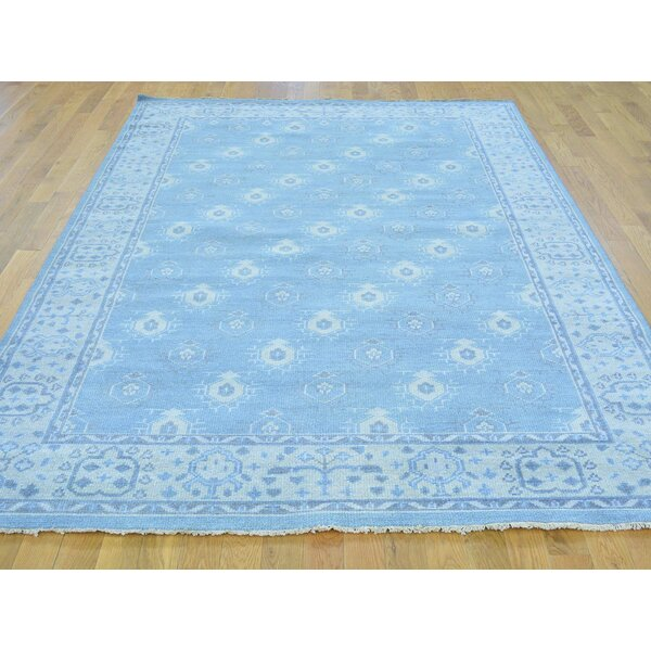 One-of-a-Kind Bearer Cropped Turkish Knot Hand-Knotted Blue Wool Area Rug by Isabelline