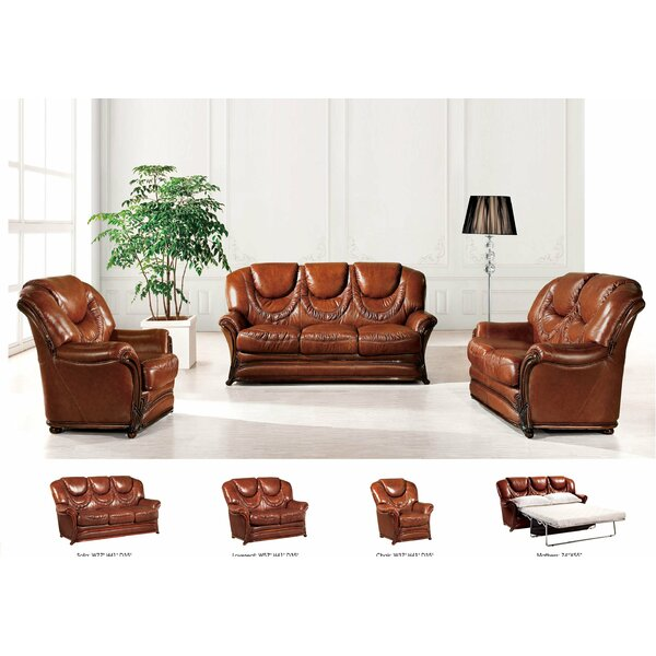 3 Sleeper Piece Leather Living Room Set by Noci Design