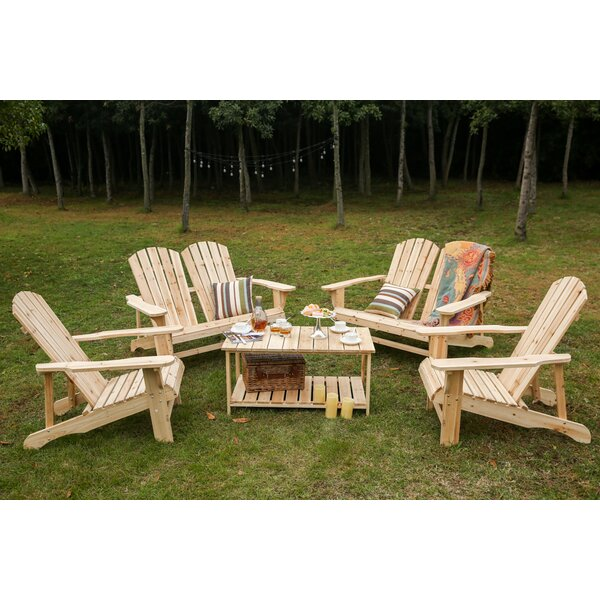 Riggio Solid Wood Adirondack Chair with Table by Loon Peak Loon Peak