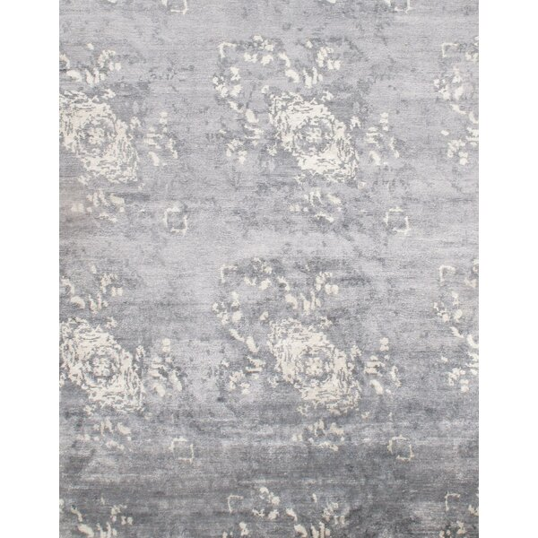Hand Knotted Silk Gray/Beige Area Rug by Pasargad NY