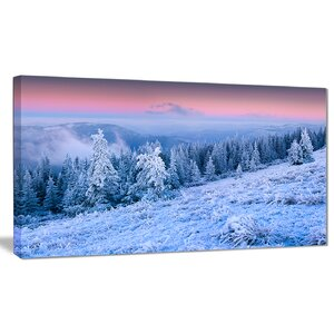 'Winter Sunrise over Mountain' Photographic Print on Wrapped Canvas by Design Art
