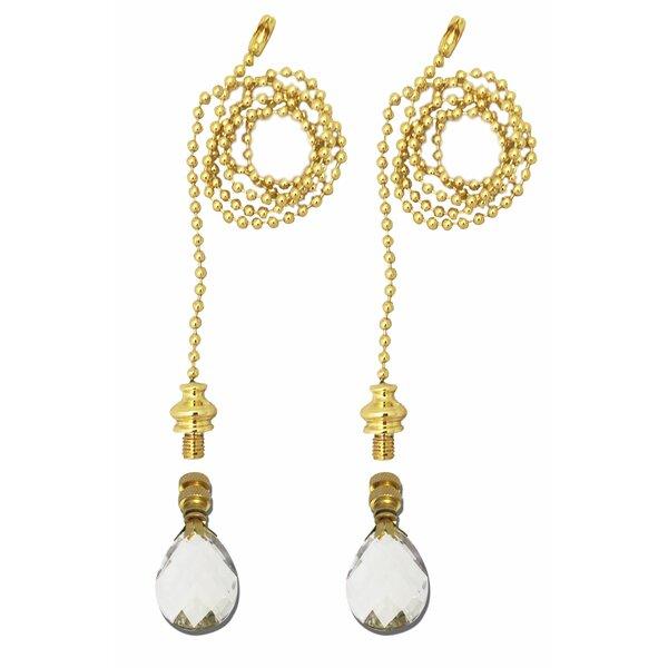 Fan Pull Chain with Medium Swiss Cut Diamond Crystal Finial (Set of 2) by Royal Designs