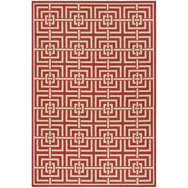 Katsikis Red/Creme Area Rug by Brayden Studio