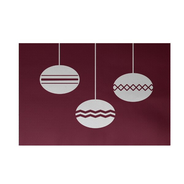 Geo-Bulbs Decorative Holiday Print Cranberry Burgundy Indoor/Outdoor Area Rug by The Holiday Aisle