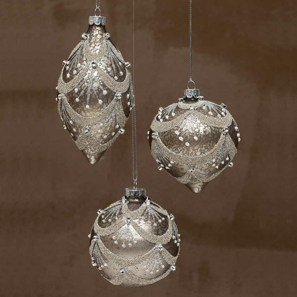 Champagne Glass Chandelier Ball Ornament (Set of 3