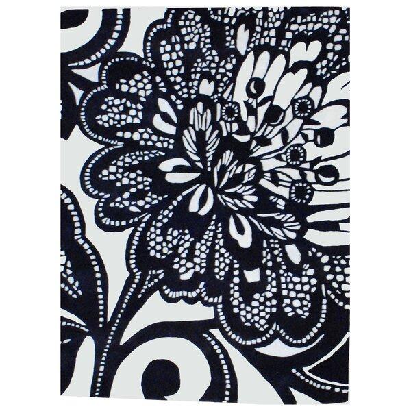 Hand-Tufted Black/ Ivory Wool Rug by Herat Oriental