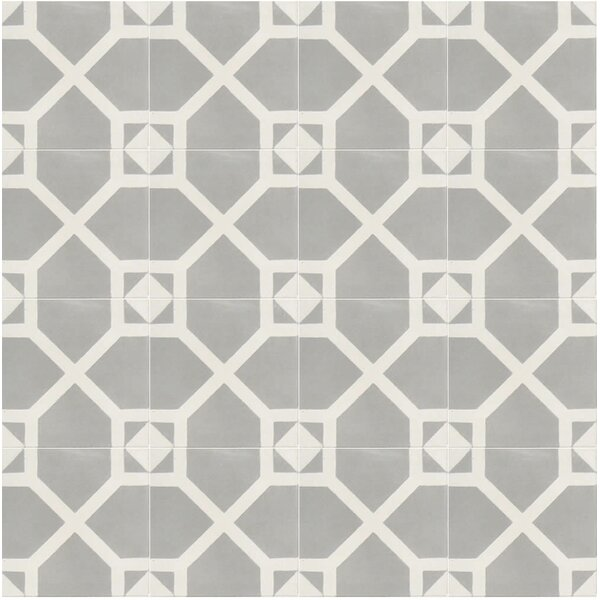 Amoud 8 x 8 Handmade Cement Tile in Gray/White by Moroccan Mosaic