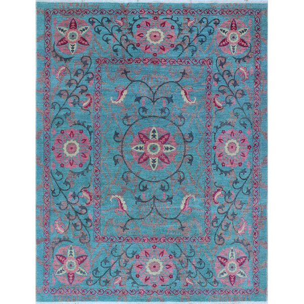 One-of-a-Kind Altom Fine Chobi Hand-Knotted Wool Blue Area Rug by Isabelline