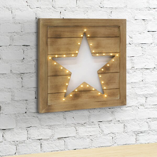 Pettine Wood Star Cutout LED Marquee Sign by August Grove