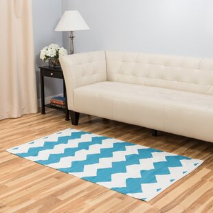 Turquoise/White Indoor/Outdoor Area Rug Harbormill