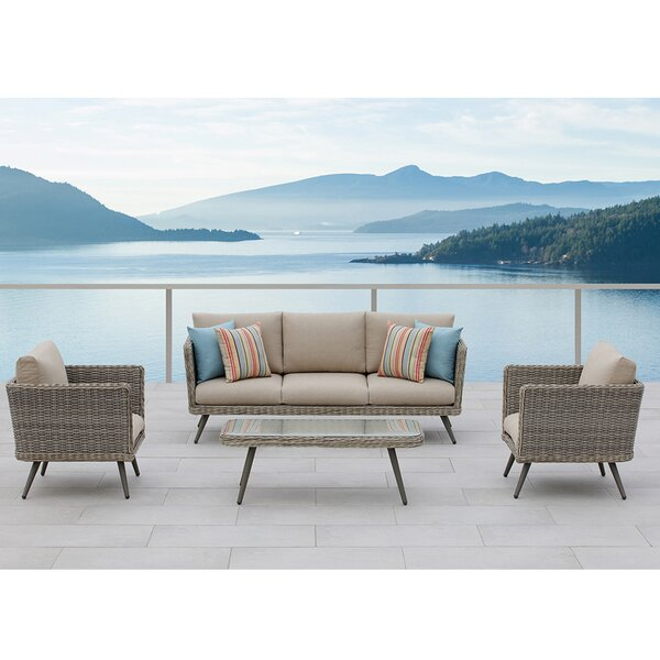 Danforth 4 Piece Seating Group with Cushions by Ove Decors