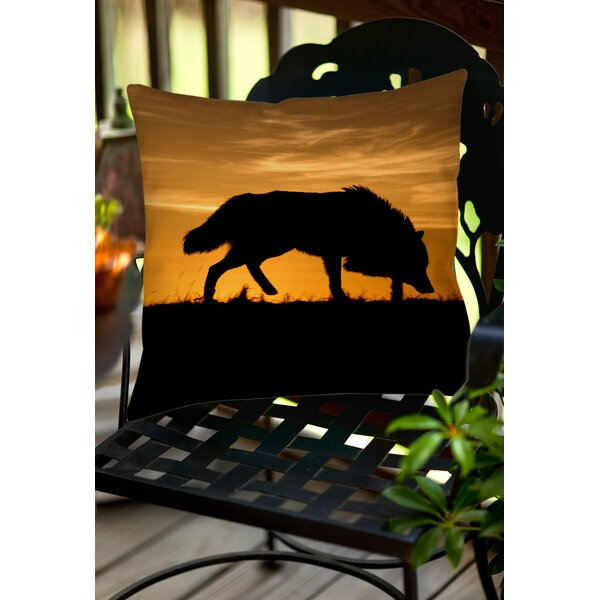 Wolf Silhouette Indoor/Outdoor Throw Pillow by Manual Woodworkers & Weavers