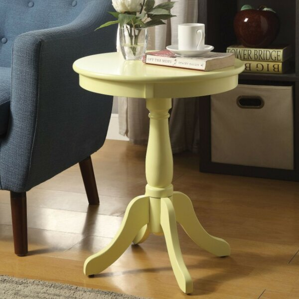 Terri Traditional Wooden Round End Table by Highland Dunes