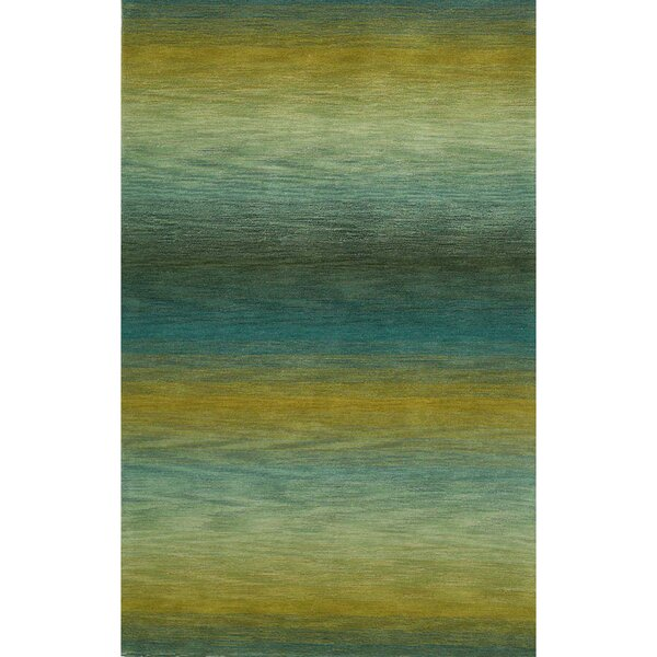 Kinman Ombre Stripes Hand-Woven Wool Blue/Yellow Indoor/Outdoor Area Rug by Bayou Breeze