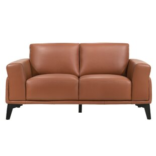 Mceachern 63 Genuine Leather Square Arm Loveseat by 17 Stories