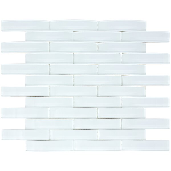 Arched Bridge 3D 1 x 4 Glass Mosaic Tile in Pure White by Multile