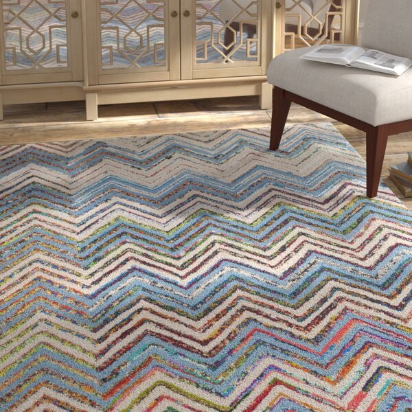 Tufted Cotton Beige/Blue Area Rug by Bungalow Rose
