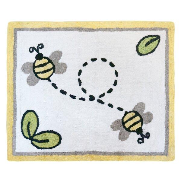 Honey Bee Hand Tufted White Area Rug by Sweet Jojo Designs