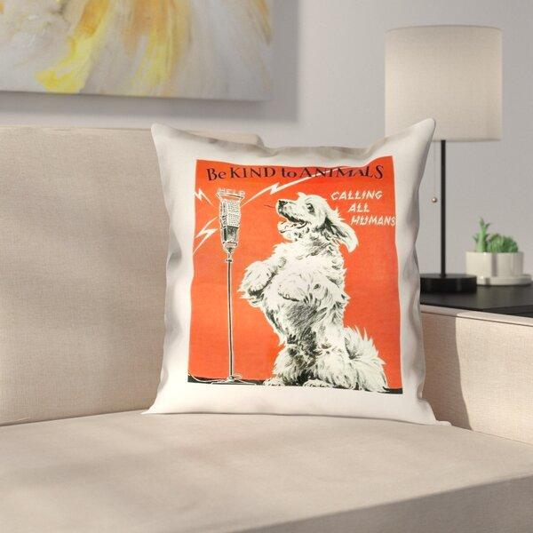 Hansard Vintage Animal Kindness Ad Outdoor Throw Pillow by Latitude Run