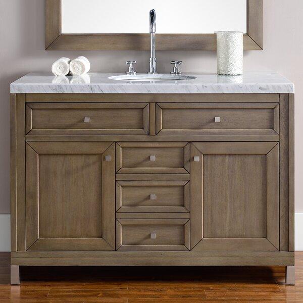Valladares 48 Single White Washed Walnut Wood Base Bathroom Vanity Set by Brayden Studio
