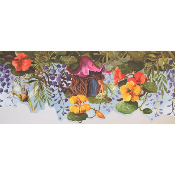 Peter Pan Tinker Bell Treehouse Colorful Flowers Wall Border by York Wallcoverings