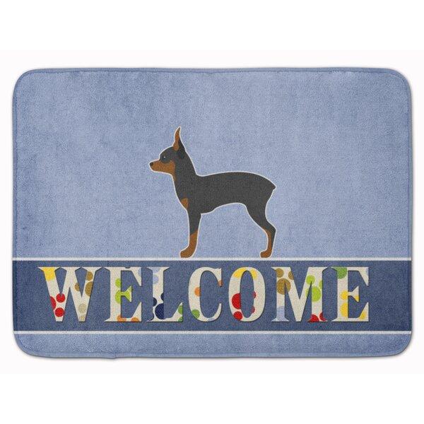 Toy Fox Terrier Welcome Rectangle Microfiber Non-Slip Bath Rug