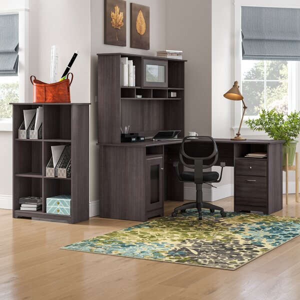 Hillsdale L-Shape Desk with Hutch and 6 Cube Bookcase by Red Barrel Studio