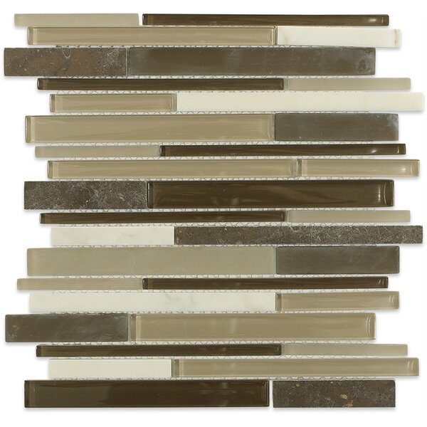 Cleveland Random Sized Glass/Marble Mosaic Tile in Frosted Brown/Dark Brown/Tan by Splashback Tile