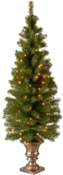 Entrance Green Spruce Artificial Christmas Tree with 100 Pre-Lit Clear Lights with Urn Base by Andover Mills