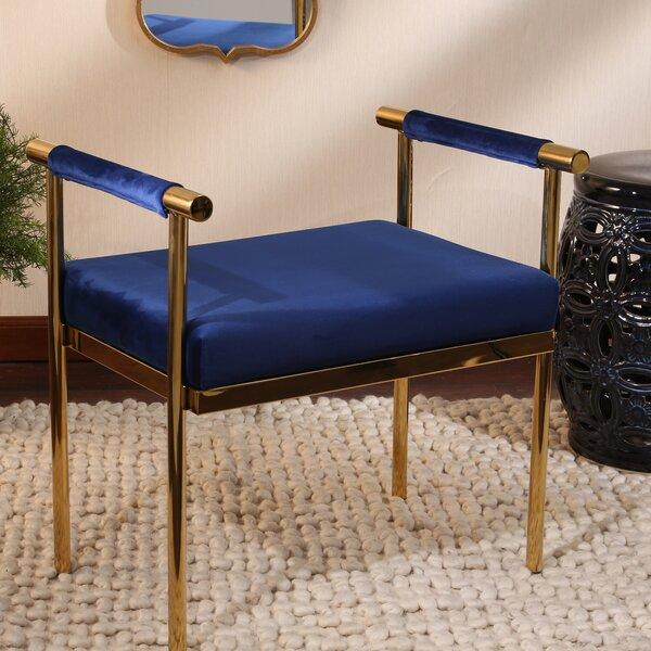 Oldene Upholstered Bench with Velveteen Seat by Mercer41 Mercer41