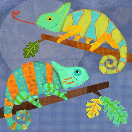 Chameleon Pals Canvas Art by Oopsy Daisy