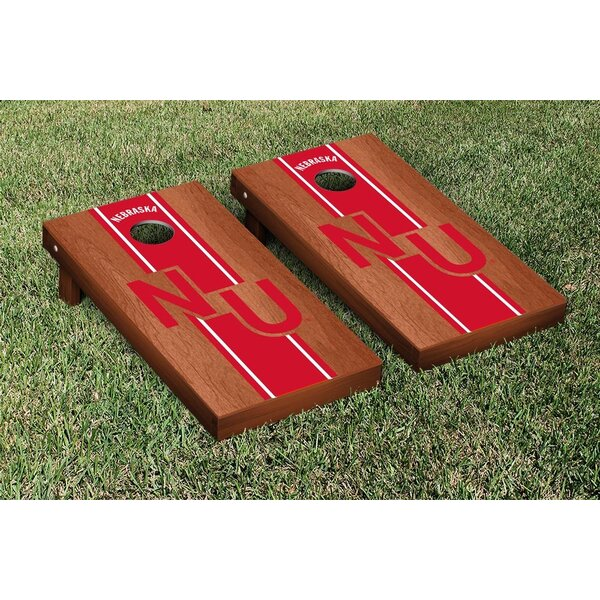 NCAA Rosewood Stained Stripe Version Cornhole Game Set by Victory Tailgate