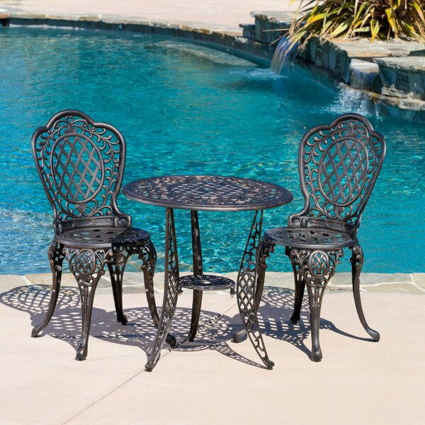 Tensed 3 Piece Bronze Cast Aluminum Outdoor Bistro Set By Fleur De Lis Living