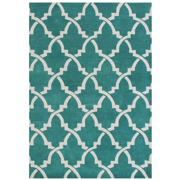 Horseshoe Hand-Tufted Peacock Green Area Rug by The Conestoga Trading Co.