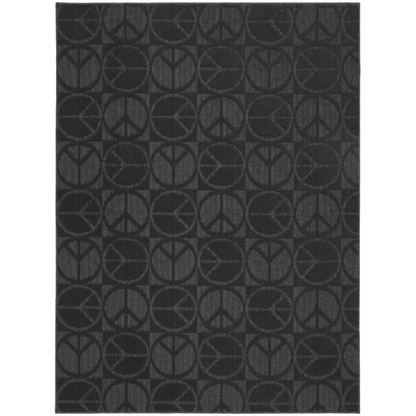 Black Large Peace Indoor/Outdoor Area Rug by Garland Rug