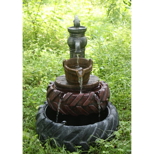 Resin Tractor 2 Tires with Hand Pump and Bucket Fountain by Hi-Line Gift Ltd.