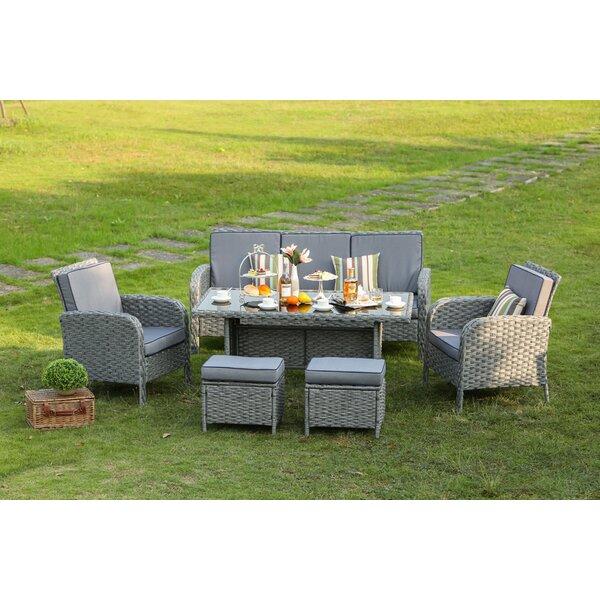 Brixham 6 Piece Rattan Sofa Seating Group with Cushions