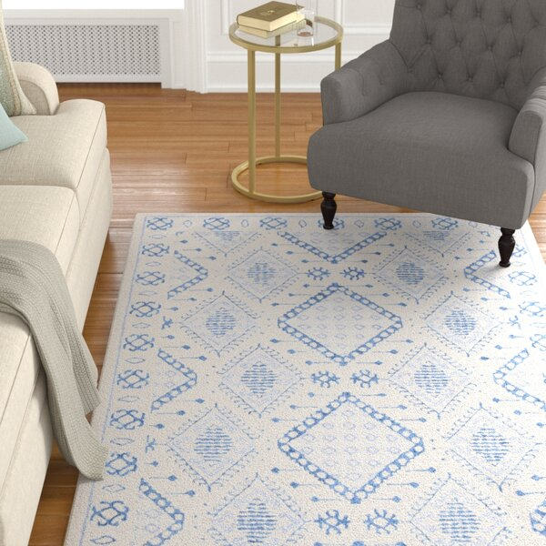 Cedarwood Hand-Tufted Wool Light Gray/Blue Area Rug by Foundry Select