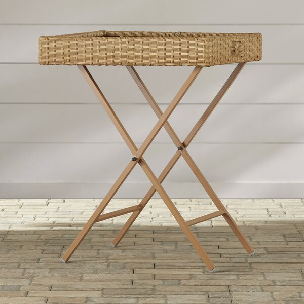 Tamworth Folding  Wicker/Rattan  Side Table by Breakwater Bay