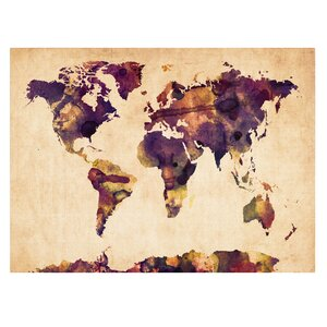 'Watercolor Map 2' by Michael Tompsett Framed Painting Print on Wrapped Canvas by Trademark Fine Art