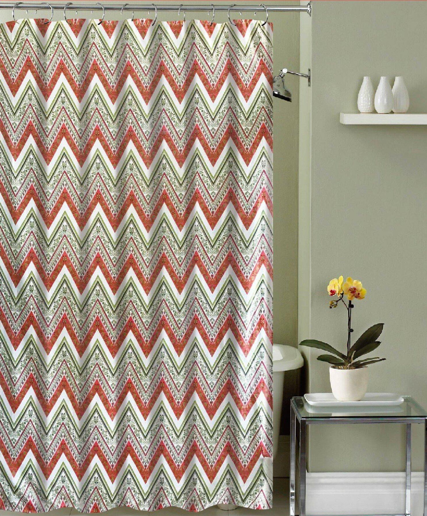 Red Barrel Studio Mirtha Chevron Canvas Fabric Shower Curtain   Wayfair