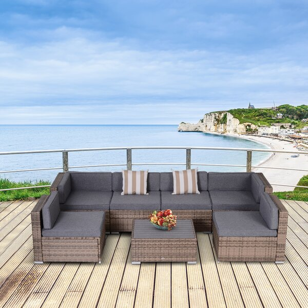 Perkasie 7 Piece Sectional Seating Group with Cushions by Latitude Run