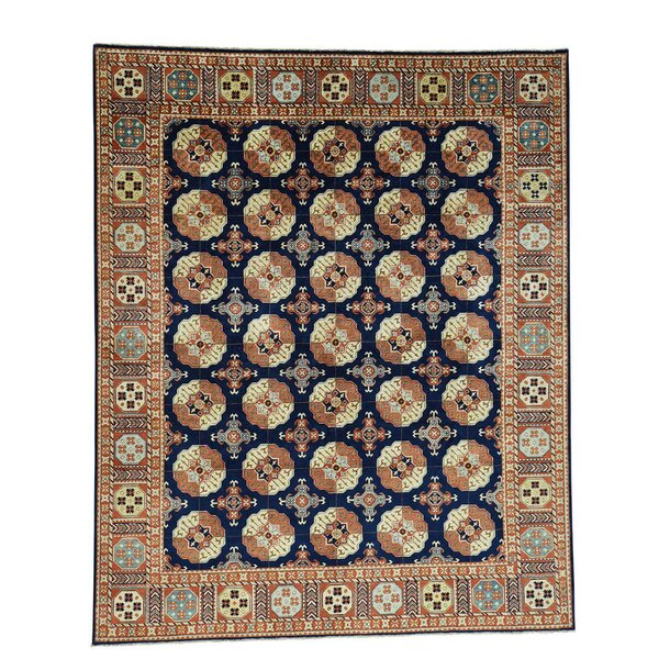 One-of-a-Kind Graybill Ancient Calligraphy Nepali Hand-Knotted Navy Blue Area Rug by Bloomsbury Market