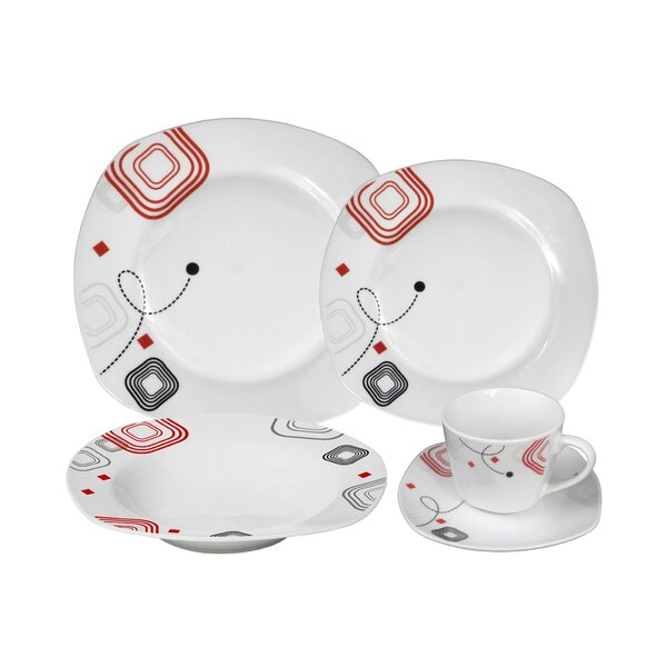 Porcelain 20 Piece Square Dinnerware Set, Service for 4 by Lorren Home Trends