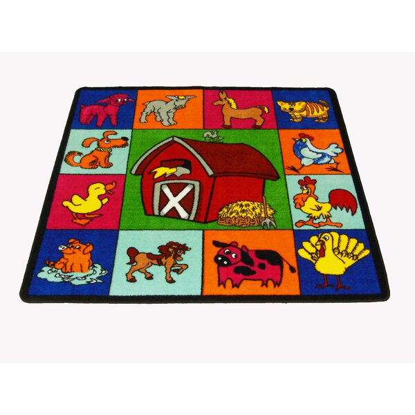 Farm for Babies Orange/Red Area Rug by Kids World Carpets