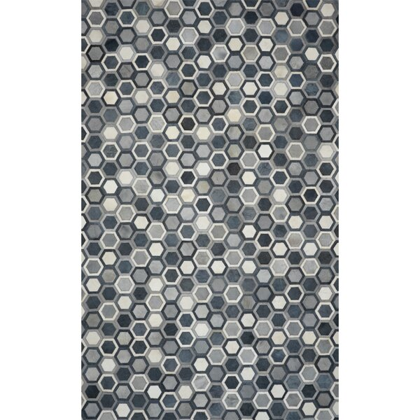 One-of-a-Kind Houchins Hand-Woven Cowhide Gray Area Rug by Brayden Studio